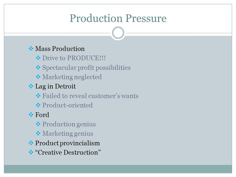 Production Pressure Mass Production Drive to PRODUCE!!!
