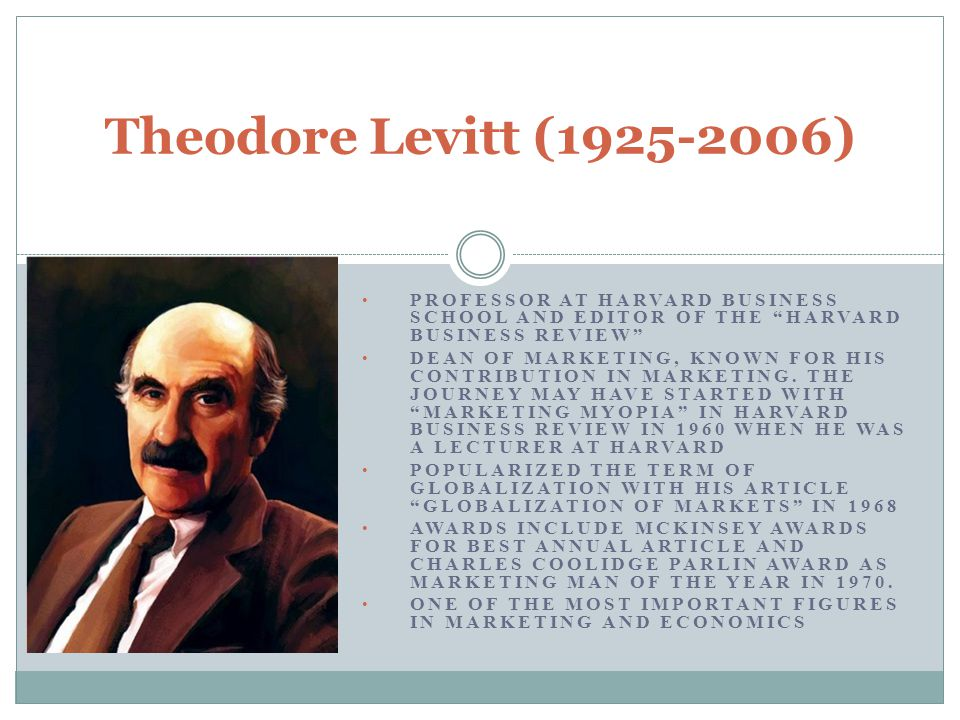 Theodore Levitt (1925-2006) PROFESSOR AT HARVARD BUSINESS SCHOOL AND EDITOR OF THE HARVARD BUSINESS REVIEW
