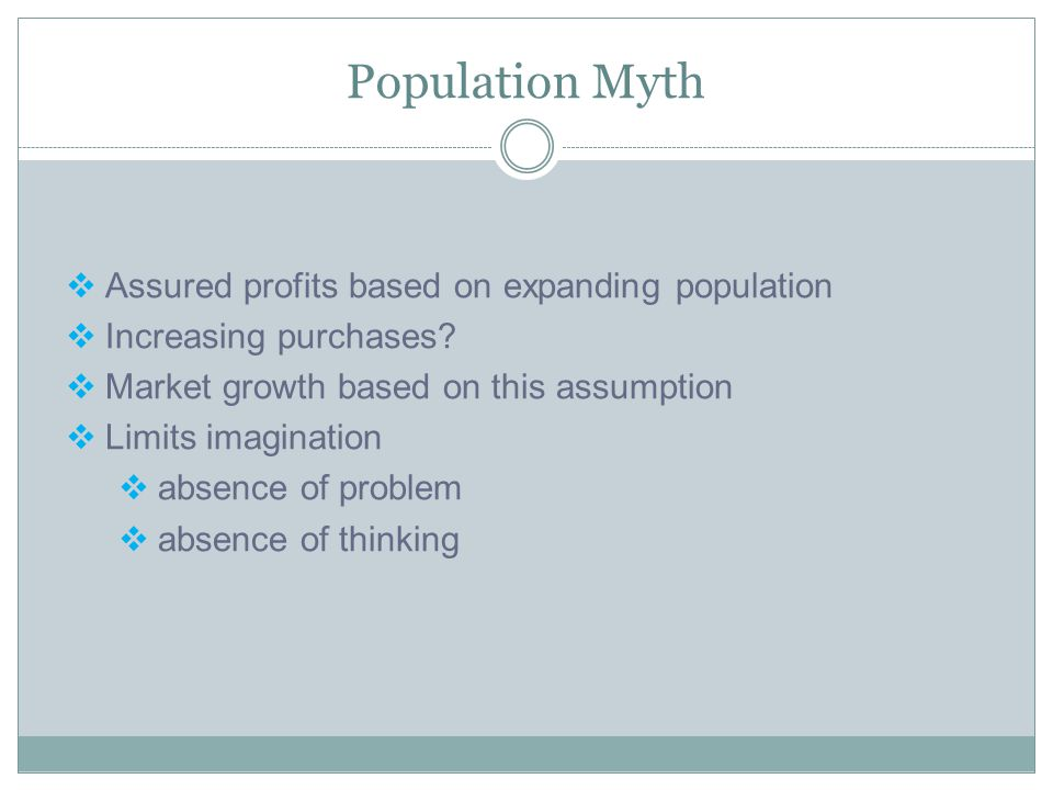 Population Myth Assured profits based on expanding population