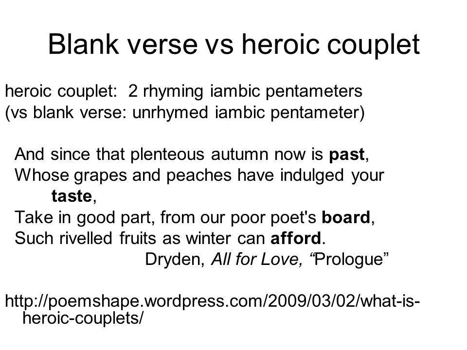 Blank verse vs heroic couplet