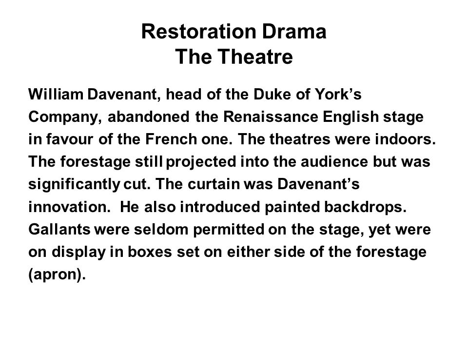Restoration Drama The Theatre