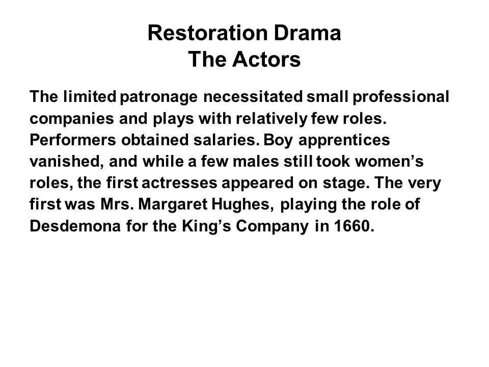 Restoration Drama The Actors
