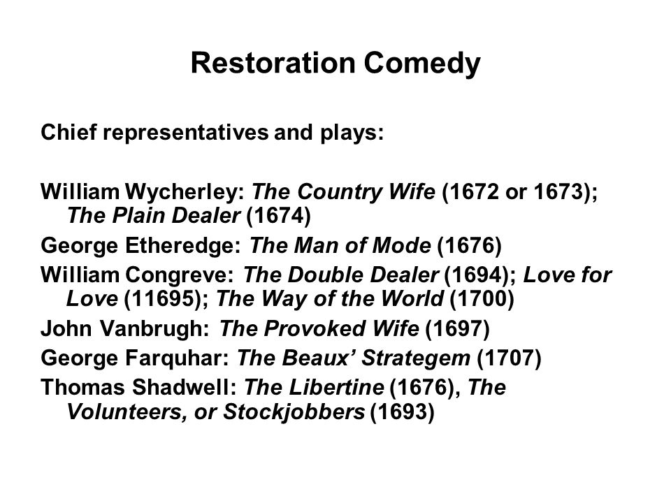 Restoration Comedy Chief representatives and plays: