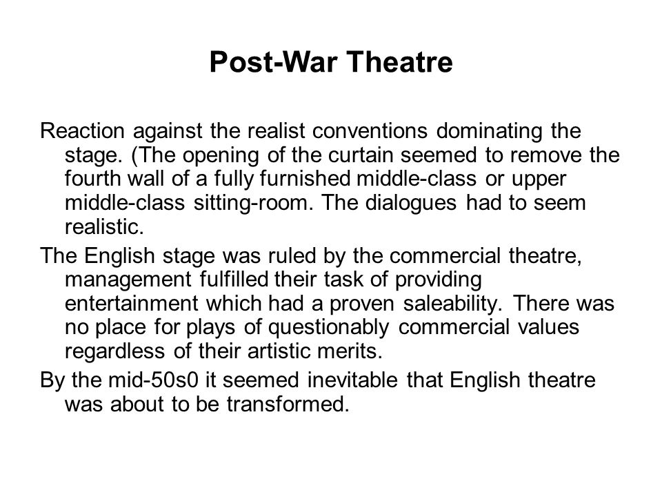 Post-War Theatre