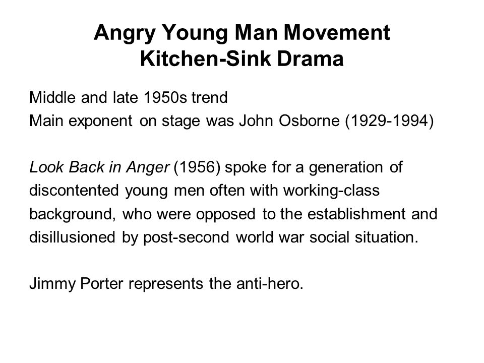 Angry Young Man Movement Kitchen-Sink Drama