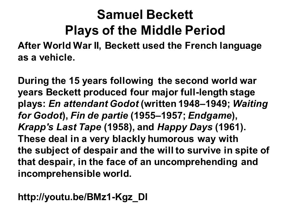 Samuel Beckett Plays of the Middle Period