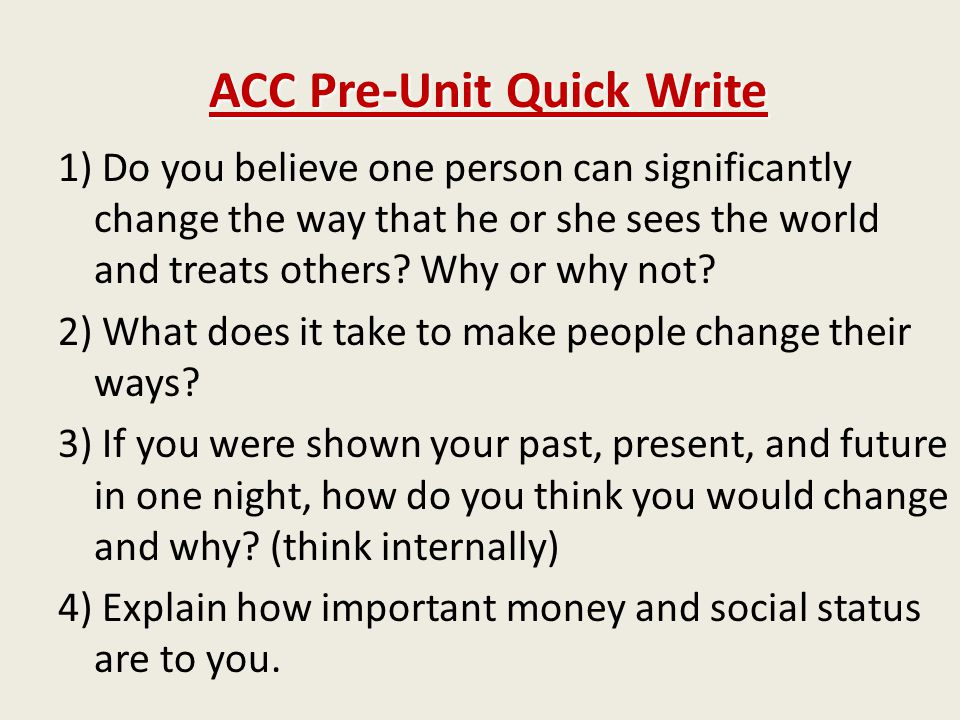 ACC Pre-Unit Quick Write