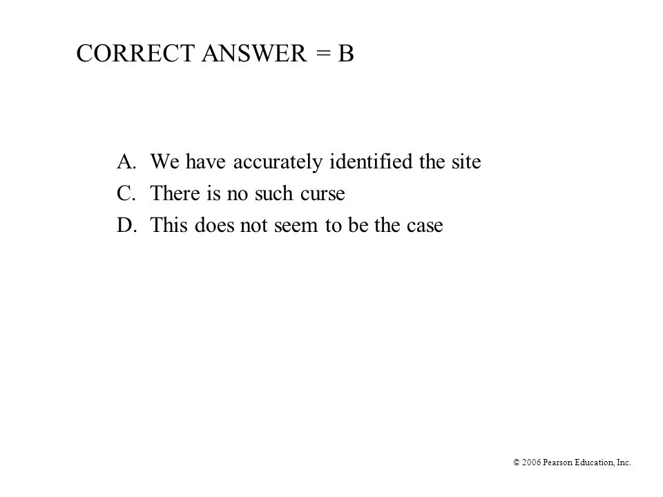 CORRECT ANSWER = B A. We have accurately identified the site