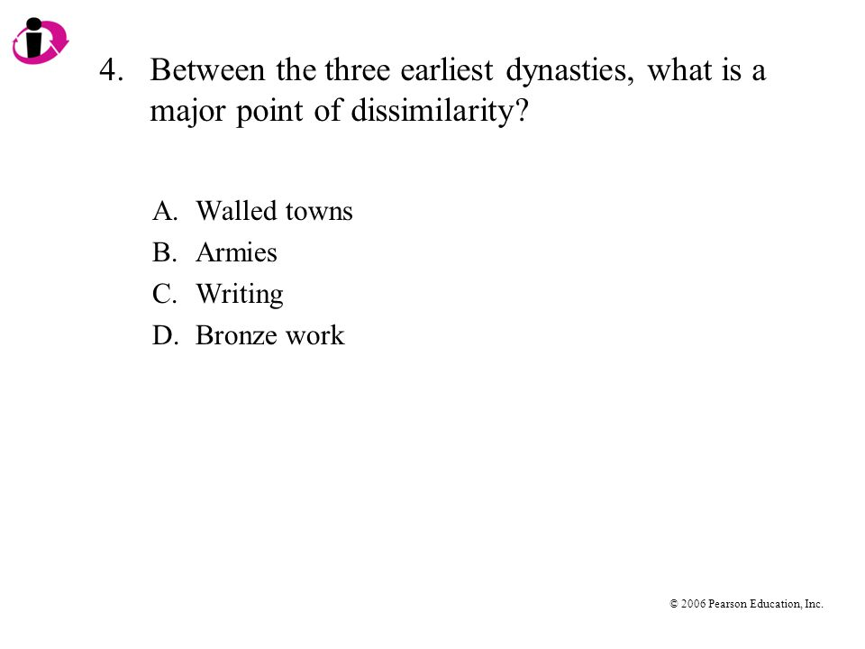 4. Between the three earliest dynasties, what is a major point of dissimilarity