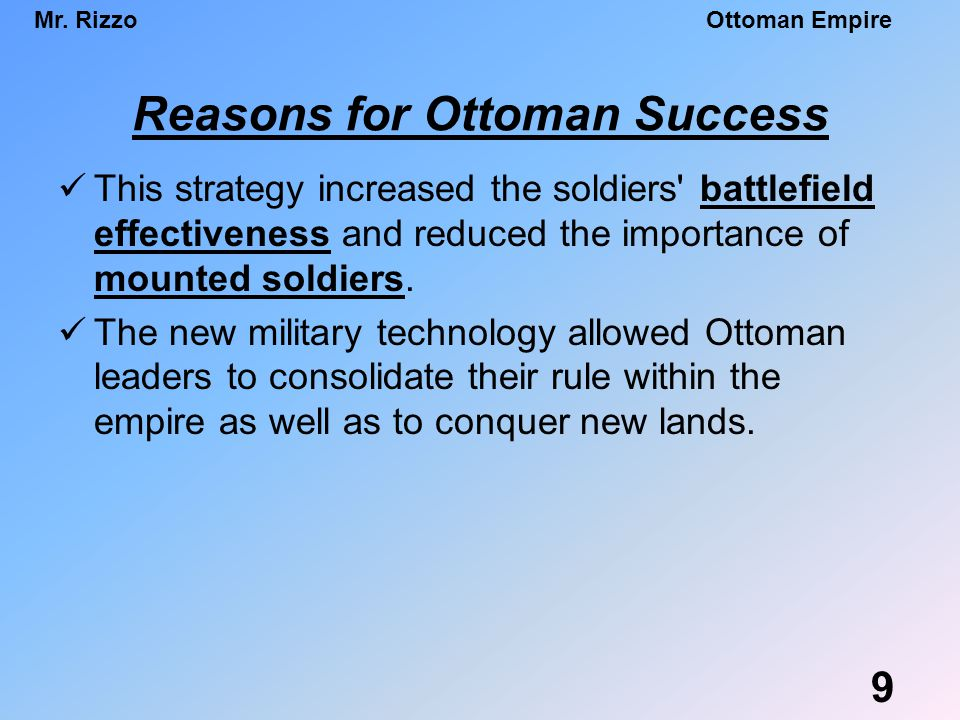 Reasons for Ottoman Success