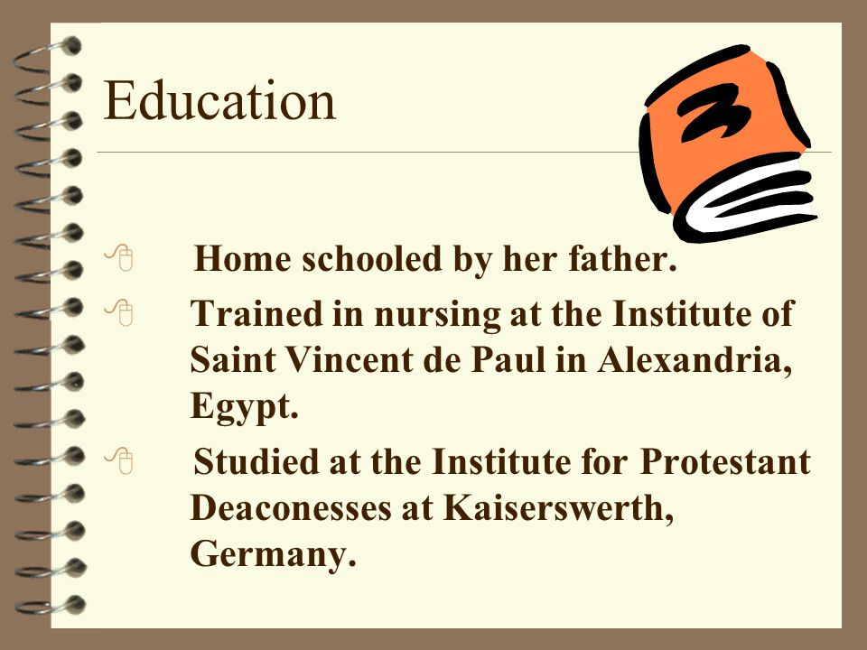 Education Home schooled by her father.