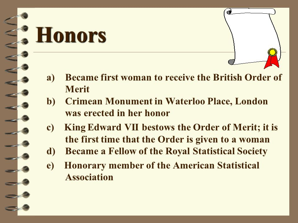 Honors a) Became first woman to receive the British Order of Merit b) Crimean Monument in Waterloo Place, London was erected in her honor.