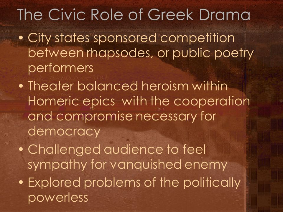 The Civic Role of Greek Drama