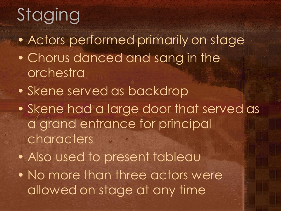 Staging Actors performed primarily on stage