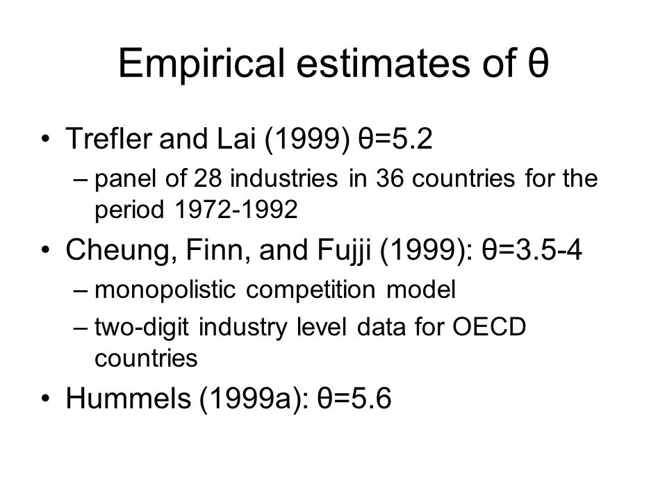 Empirical estimates of θ
