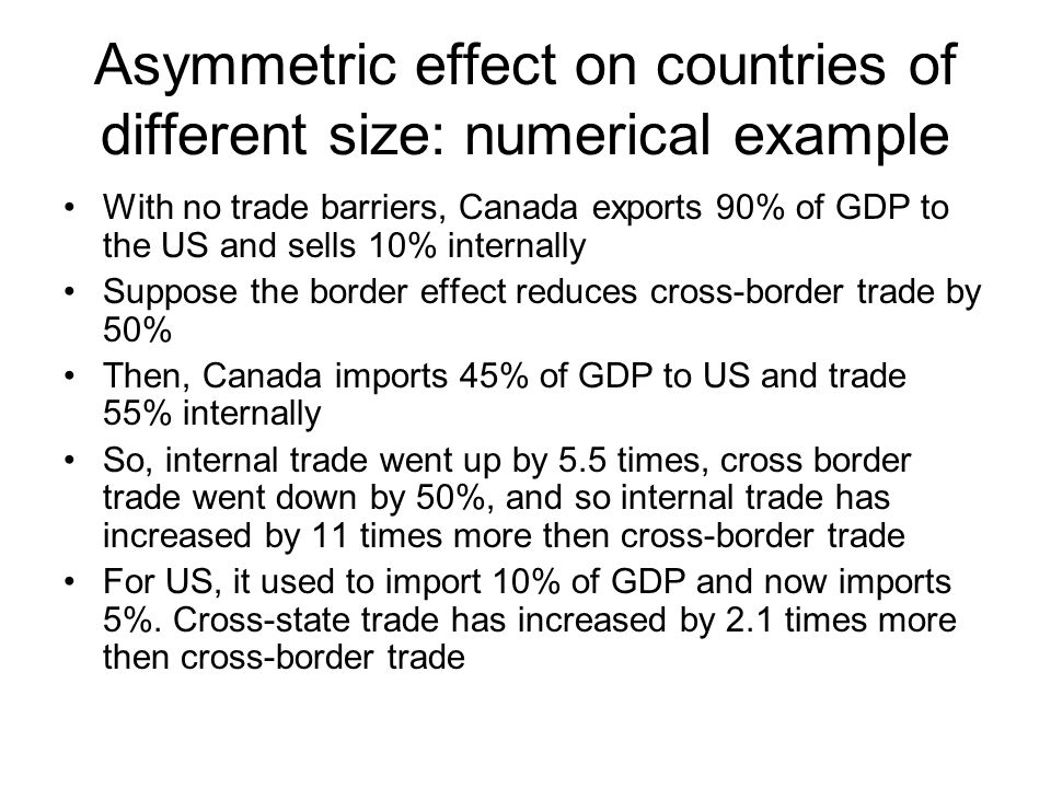 Asymmetric effect on countries of different size: numerical example