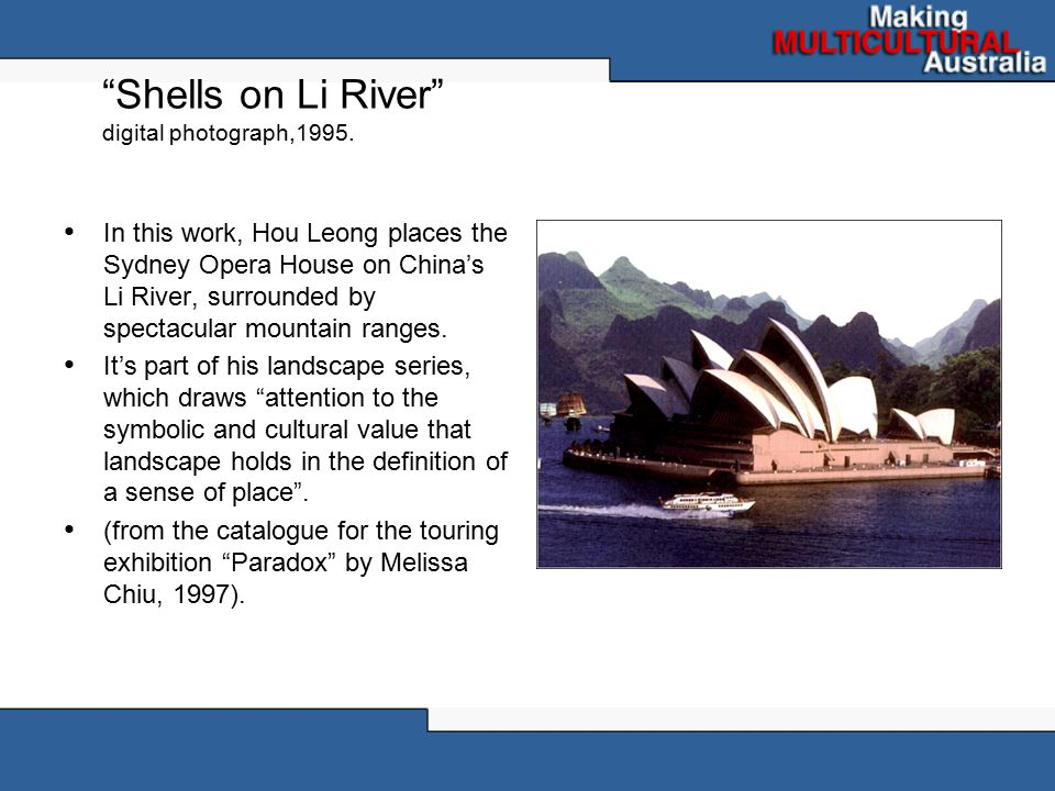 Shells on Li River digital photograph,1995.