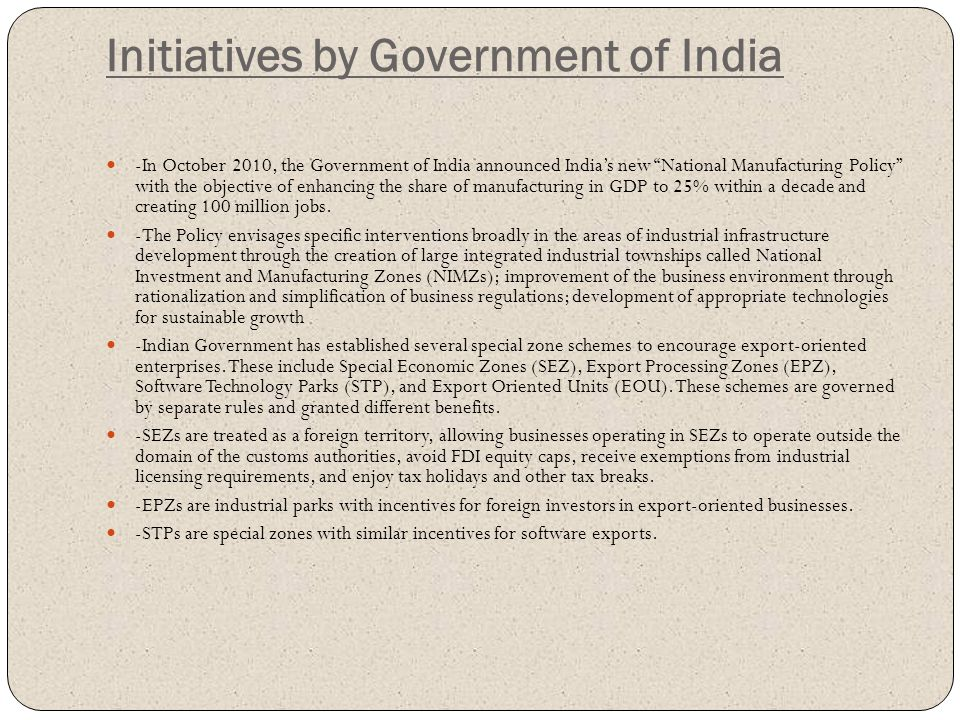 Initiatives by Government of India