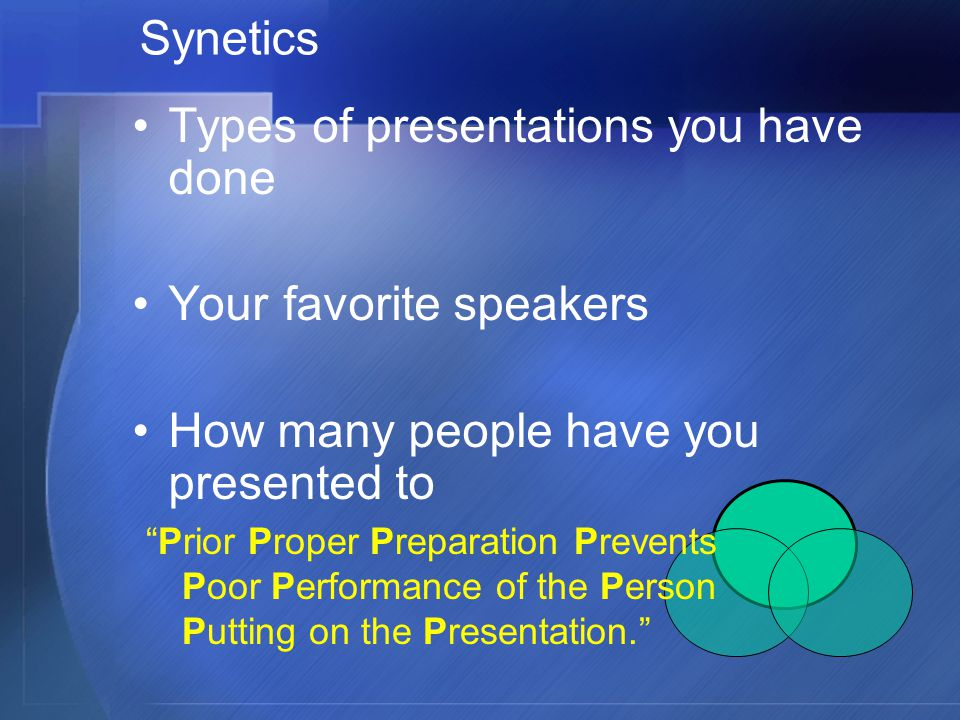 Types of presentations you have done