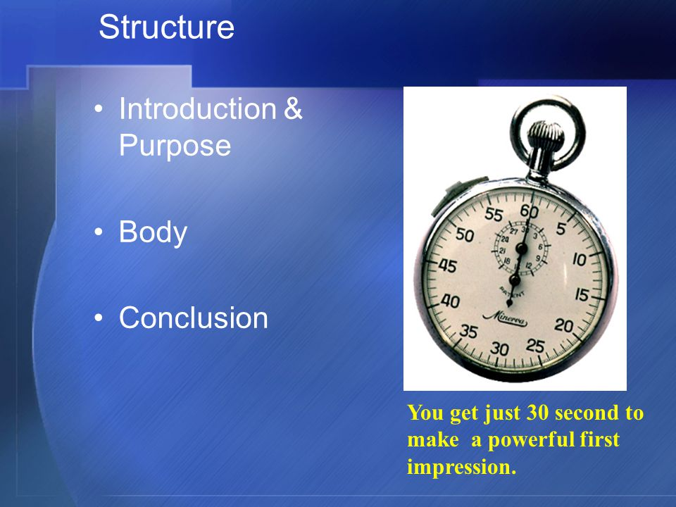 Structure Introduction & Purpose Body Conclusion