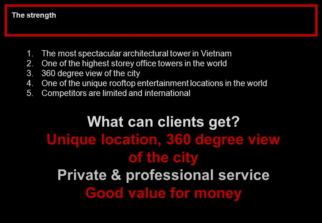 Unique location, 360 degree view Private & professional service