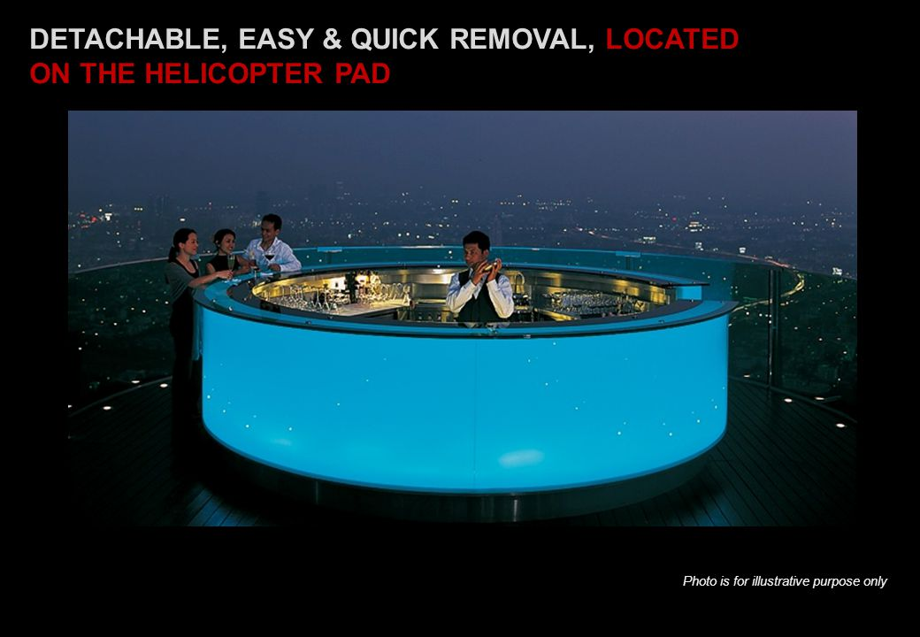 DETACHABLE, EASY & QUICK REMOVAL, LOCATED ON THE HELICOPTER PAD