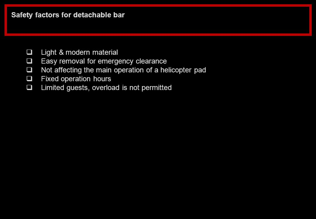 Safety factors for detachable bar