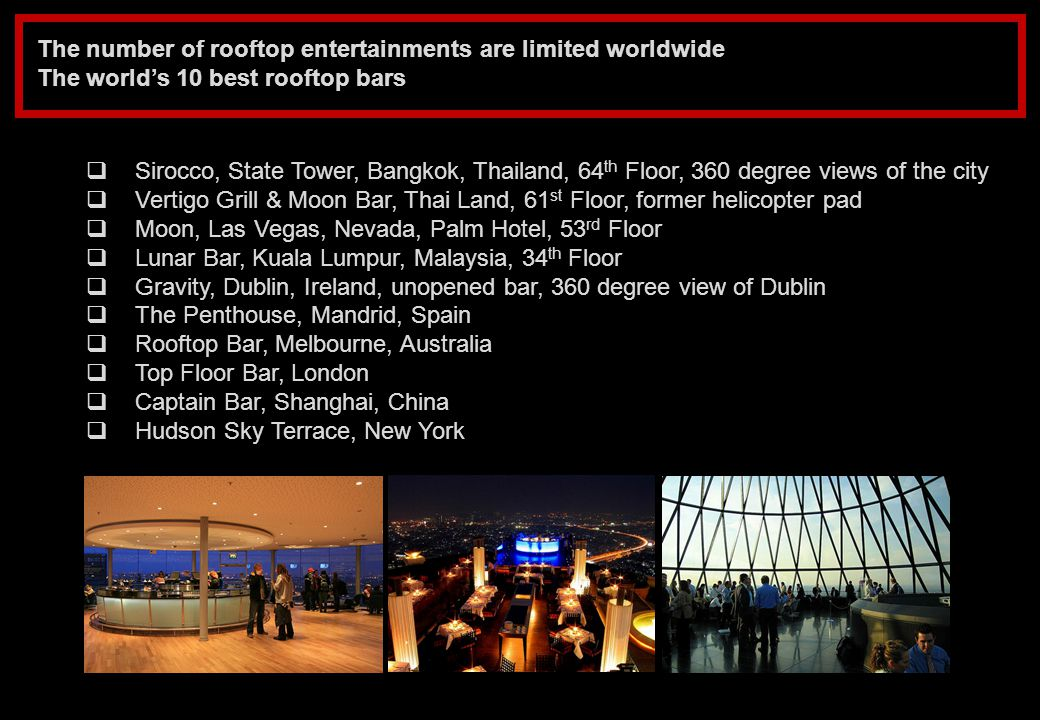 The number of rooftop entertainments are limited worldwide