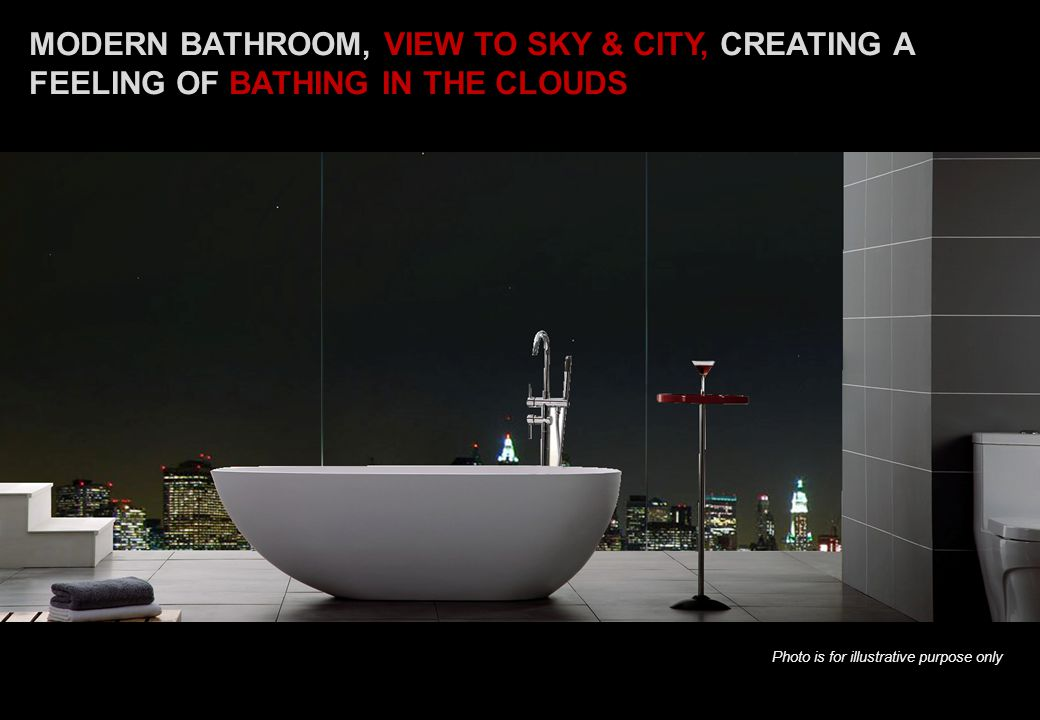 MODERN BATHROOM, VIEW TO SKY & CITY, CREATING A FEELING OF BATHING IN THE CLOUDS