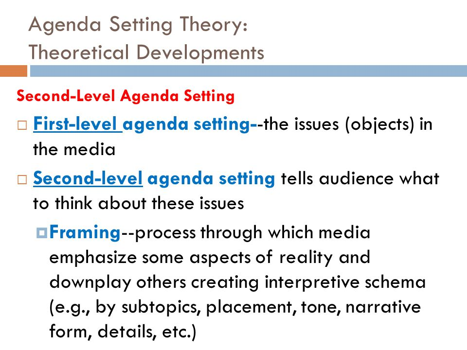 Agenda Setting Theory: Theoretical Developments