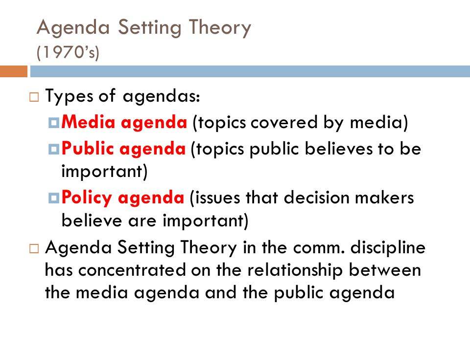 Agenda Setting Theory (1970's)
