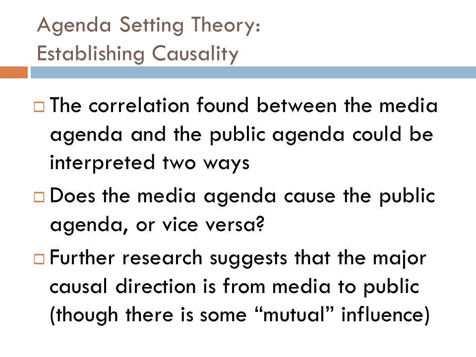 Agenda Setting Theory: Establishing Causality