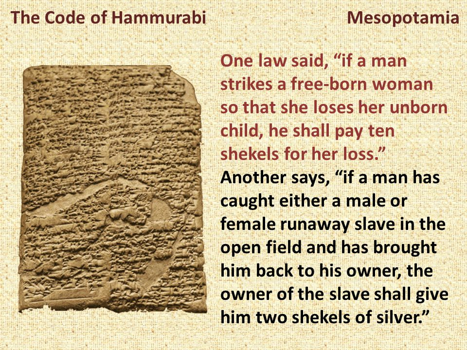 individual rights code of hammurabi It focuses on theft, property damage, women's rights origin of the code the code of hammurabi have some individual laws that bear a passing.
