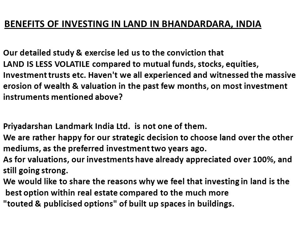 BENEFITS OF INVESTING IN LAND IN BHANDARDARA, INDIA