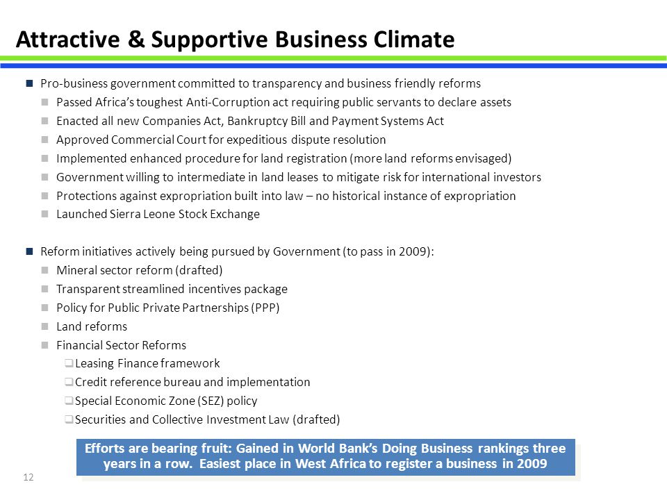 Attractive & Supportive Business Climate