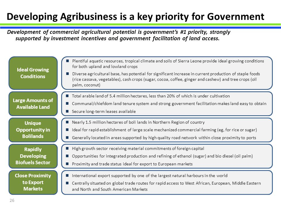 Developing Agribusiness is a key priority for Government