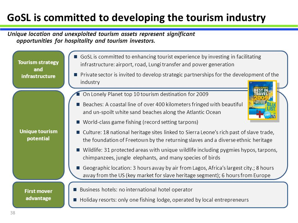 Tourism strategy and infrastructure Unique tourism potential