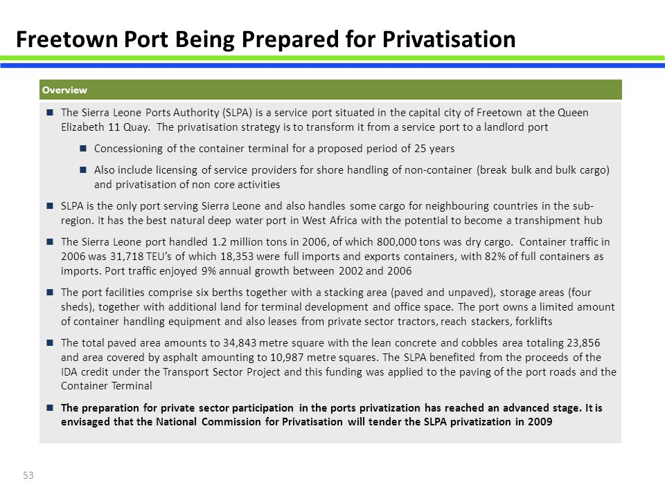 Freetown Port Being Prepared for Privatisation