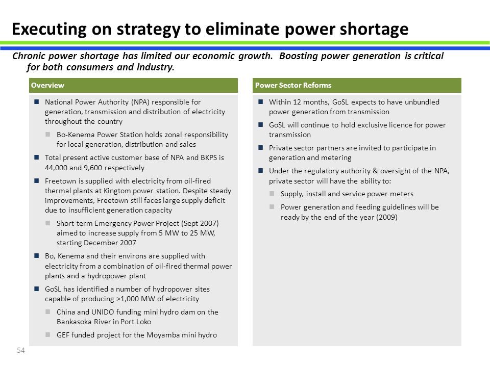 Executing on strategy to eliminate power shortage