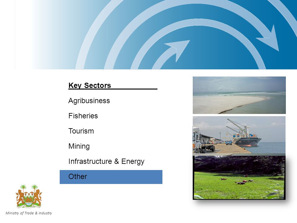 Key Sectors Agribusiness Fisheries Tourism Mining Infrastructure & Energy Other