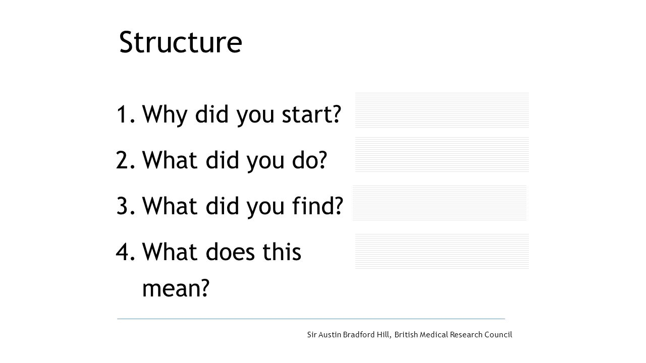 Structure Why did you start What did you do What did you find