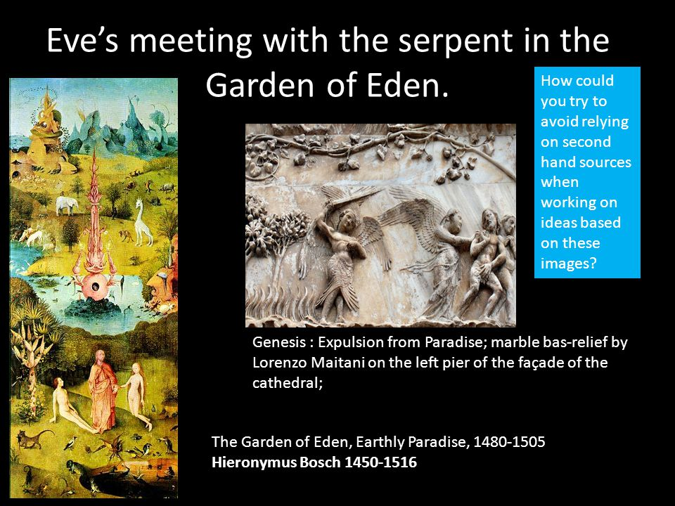 Eve's meeting with the serpent in the Garden of Eden.