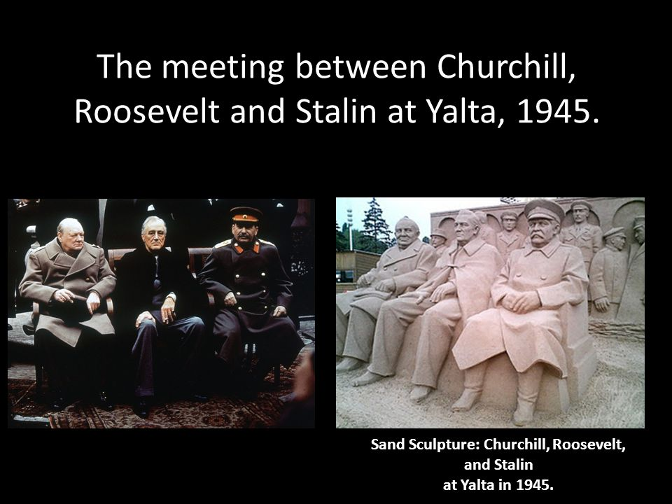 The meeting between Churchill, Roosevelt and Stalin at Yalta, 1945.