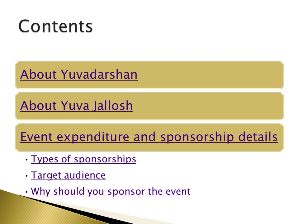 Contents About Yuvadarshan About Yuva Jallosh