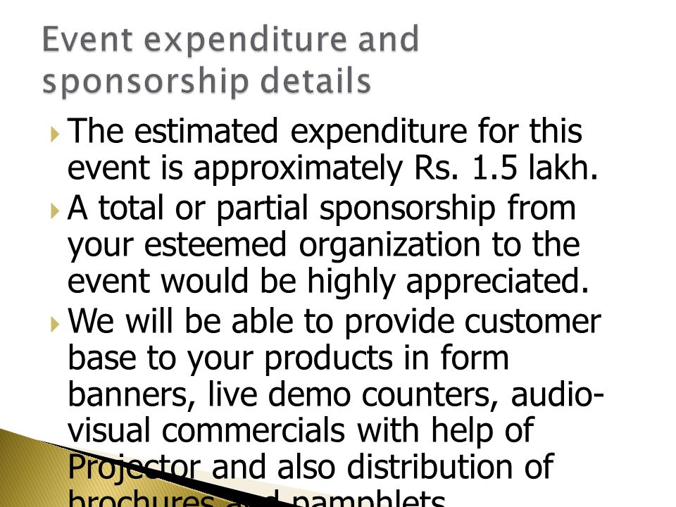 Event expenditure and sponsorship details