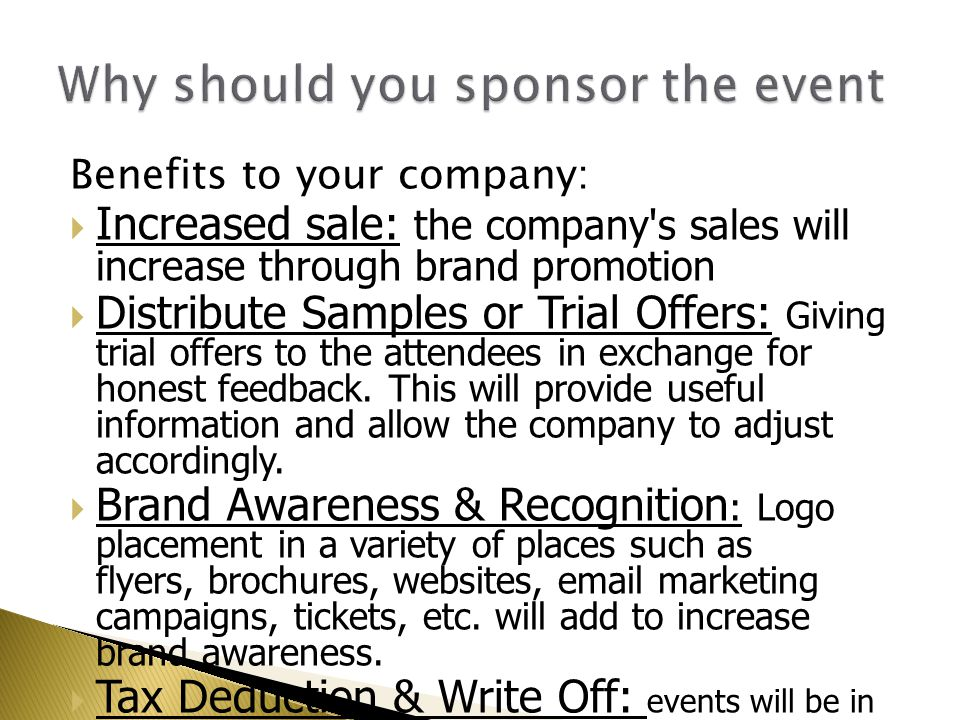 Why should you sponsor the event