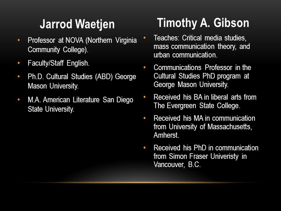 Jarrod Waetjen Timothy A. Gibson