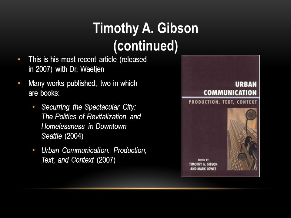 Timothy A. Gibson (continued)