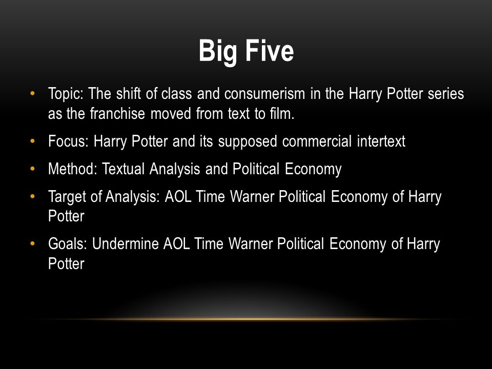 Big Five Topic: The shift of class and consumerism in the Harry Potter series as the franchise moved from text to film.