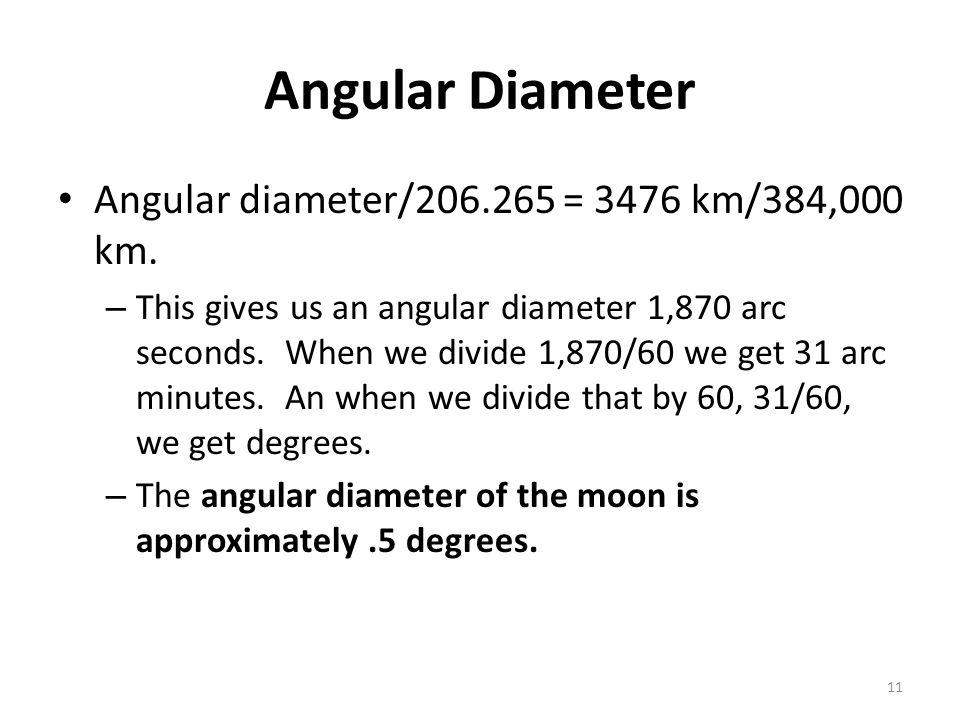 Angular Diameter Angular diameter/206.265 = 3476 km/384,000 km.